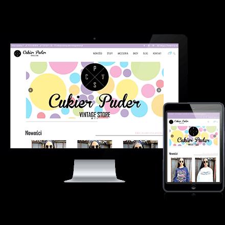 Strona internetowa sklepu Cukier Puder - Vintage Store zrealizowana przez Agencję Interaktywną Premium Digital
